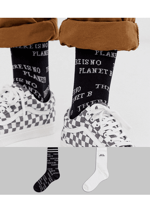 ASOS DESIGN 2 pack ankle socks with planet earth design save-Multi