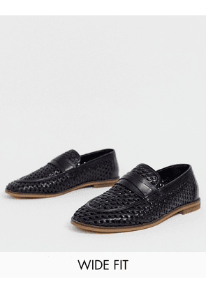 ASOS DESIGN Wide Fit loafers in black woven leather