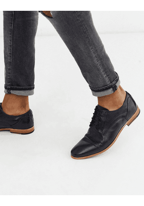 ASOS DESIGN lace up shoes in black leather with natural sole