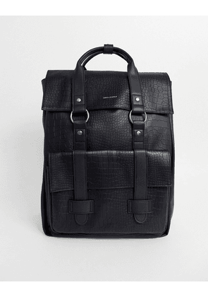 ASOS DESIGN backpack in black faux leather croc with double straps and branded emboss