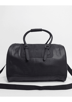 ASOS DESIGN holdall bag in black faux leather croc with branded emboss