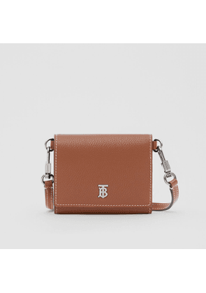 Burberry Small Grainy Leather Wallet with Detachable Strap, Brown