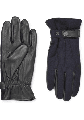 Dents - Flannel And Leather Gloves - Blue