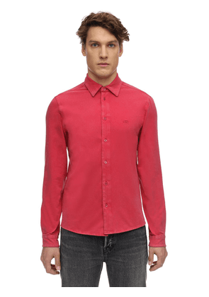 Washed Cotton Fitted Stretch Shirt