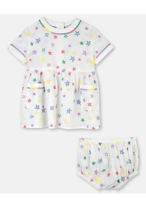 Stella McCartney Kids White Stars Embroidery Cotton Dress, Unisex, Size 3-6