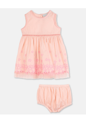 Stella McCartney Kids Pink Stars Embroidery Cotton Dress, Unisex, Size 1-3