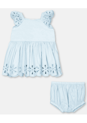 Stella McCartney Kids Blue Broderie Anglaise Dress, Unisex, Size 3-6