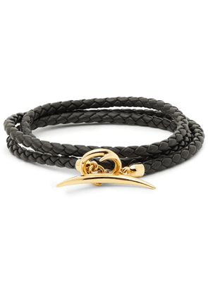 Shaun Leane - Quill Woven Leather and Gold-Plated Wrap Bracelet - Men - Black