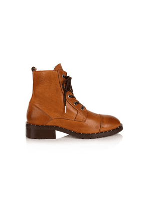 Jessa Lace Up Leather Boot - Tan