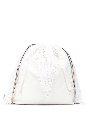 Lace-trimmed drawstring pouch