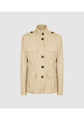 Reiss Bailey - Cotton Blend Utility Jacket in Stone, Womens, Size 4