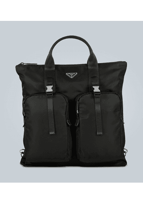 Nylon and leather convertible tote