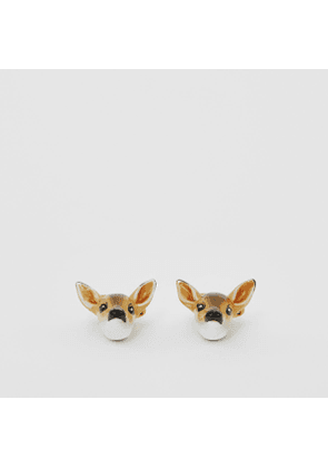 Burberry Deer Motif Gold-plated Cufflinks, Yellow