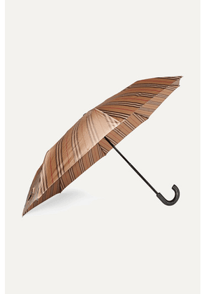 Burberry - Leather-trimmed Striped Shell Umbrella - Beige