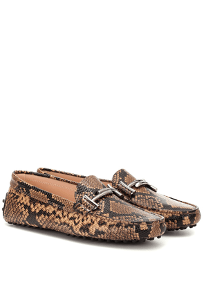 Exclusive to Mytheresa – Gommino snake-effect leather loafers