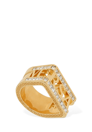Logo Lettering Signet Ring W/ Crystals