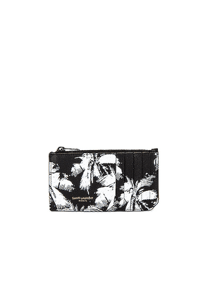 Saint Laurent Credit Card Holder in Black & White - Black. Size all.