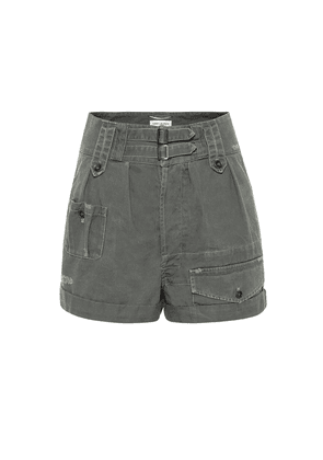 High-rise cotton and ramie shorts