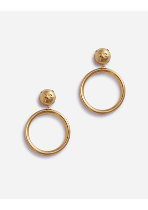 Dolce & Gabbana Bijoux - CLIP-ON HOOP EARRINGS WITH LOGOED DG BALLS GOLD