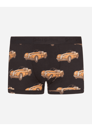 Dolce & Gabbana Underwear - COTTON BOXERS WITH SMALL CAR PRINT BLACK