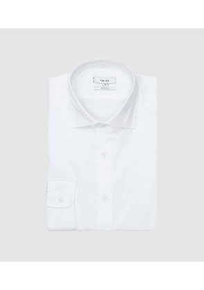 Reiss Remote Slim - Slim Fit Small Collar Shirt in White, Mens, Size L
