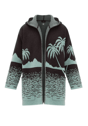 Alanui - Point Dume Lands Intarsia-knitted Wool Cardigan - Mens - Grey Multi
