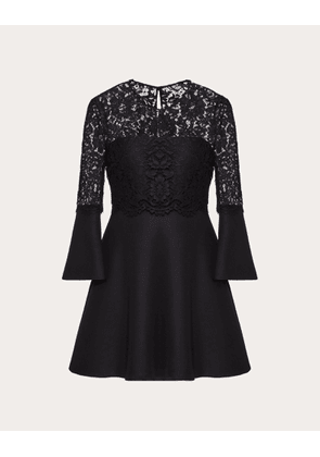 Valentino Crepe Couture And Heavy Lace Dress Women Black Virgin Wool 65%, Silk 35% 36