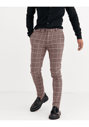 ASOS DESIGN super skinny suit trousers in burgundy and camel wool blend check-Red