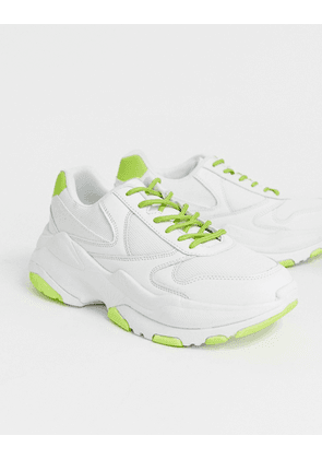 ASOS DESIGN trainers with neon flash and chunky sole-White