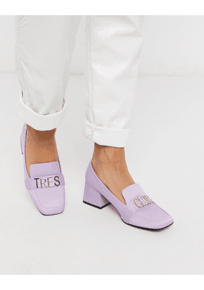 ASOS DESIGN Simba mid-heeled loafers in purple