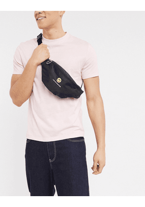 ASOS DESIGN cross body bum bag in black with embroidery