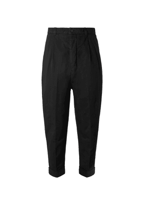 AMI - Tapered Cropped Pleated Cotton-gabardine Trousers - Black