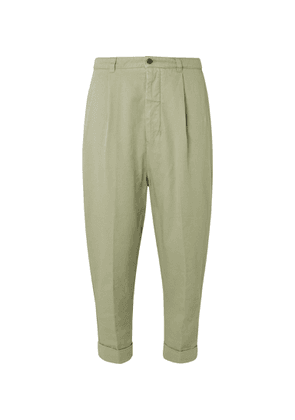 AMI - Tapered Cropped Pleated Cotton-gabardine Trousers - Green