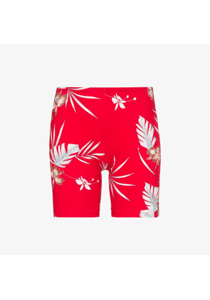 Paco Rabanne Womens Red Floral Print Logo Cycling Shorts