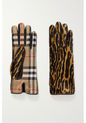 Burberry - Leather-trimmed Leopard-print Calf Hair And Checked Twill Gloves - Leopard print