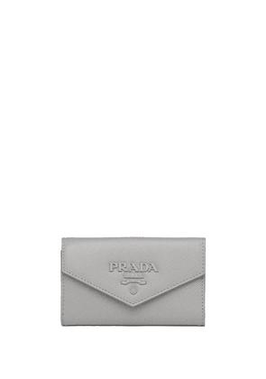 Prada logo plaque key case - Grey