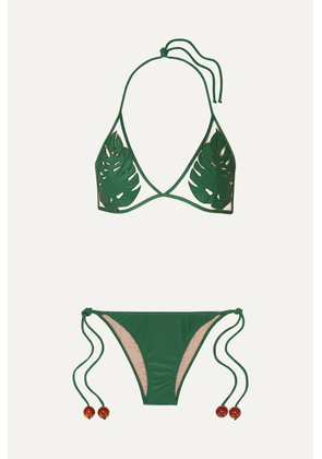 Adriana Degreas - + Cult Gaia Embellished Tulle-paneled Triangle Bikini - Green
