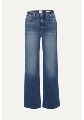 FRAME - Le California Frayed High-rise Wide-leg Jeans - Indigo