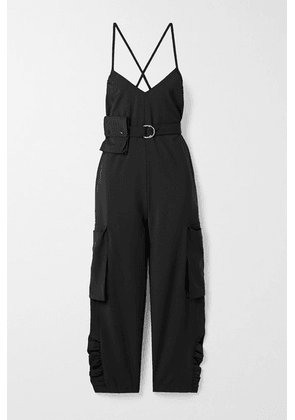 Tibi - Tropical Belted Woven Jumpsuit - Black