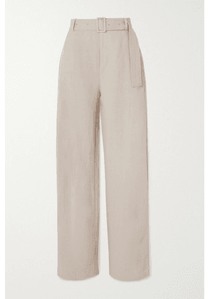 Co - Belted Woven Wide-leg Pants - Taupe