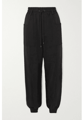 TOM FORD - Paneled Jersey, Satin And Piqué Track Pants - Black