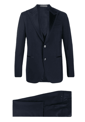Corneliani contrast peaked lapel wool blend suit jacket - Blue