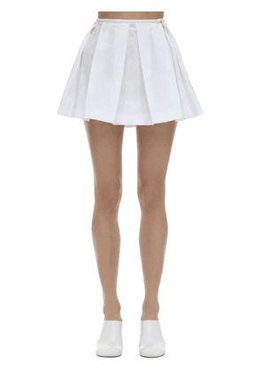 Pleated Cotton Poplin Mini Skirt