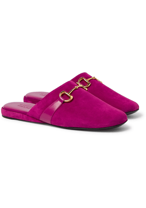 Gucci - Pericle Horsebit Suede Slippers - Pink