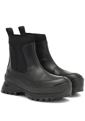 Utility faux leather ankle boots