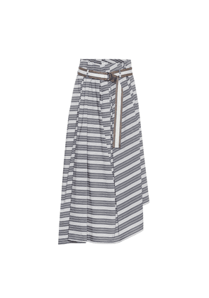 Striped cotton midi skirt