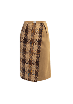 Cleo Prickett - Pencil Wrap Skirt In Donegal Tweed & Contrast Gold Worsted Wool From Savile Row