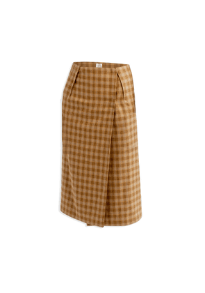 Cleo Prickett - Wrap Skirt In Mustard Plaid Soft Touch 100% Wool From Savile Row