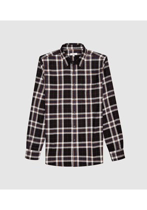 Reiss Jasper - Brushed Checked Shirt in Navy, Mens, Size XS