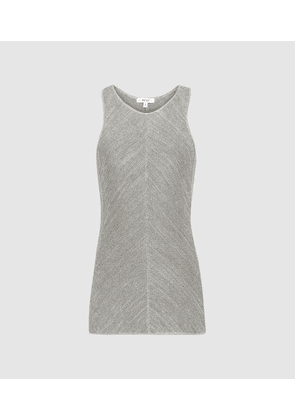 Reiss Kat - Metallic Knitted Top in Silver Grey, Womens, Size XS